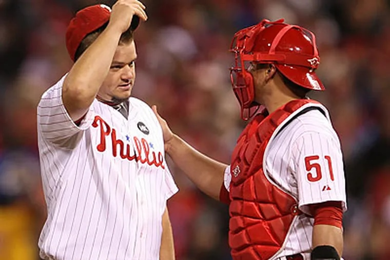 There has been no concrete evidence to confirm rumors that the Phillies were attempting to move Joe Blanton to sign Brandon Lyon or trade for Toronto ace Roy Halladay. (Yong Kim/Staff Photographer)