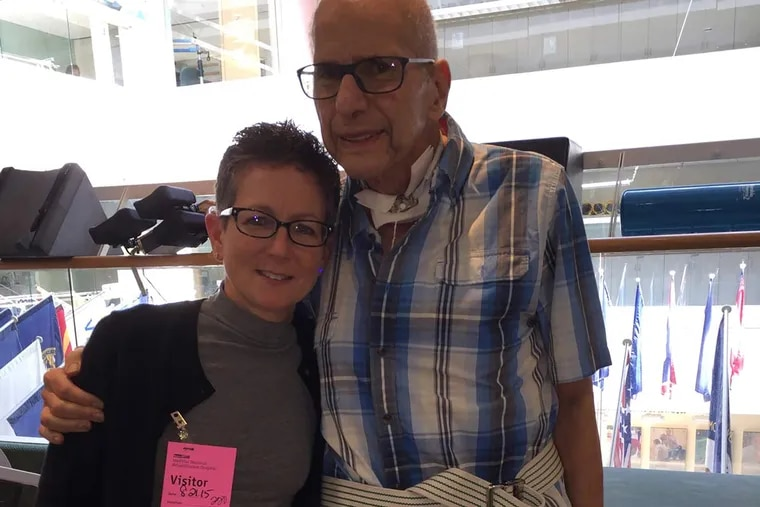 Aaron Levine, in his last day of rehabilitation at a hospital in Washington, D.C. in August, is visited by the trauma surgeon, Amy Goldberg, who led the team of doctors at Temple University Hospital that saved his life.