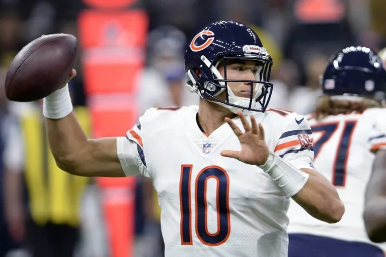Chicago Bears quarterback Mitchell Trubisky (10) passes in the first half of an NFL football game against the New Orleans Saints in New Orleans, Sunday, Oct. 29, 2017. (AP Photo/Bill Feig)