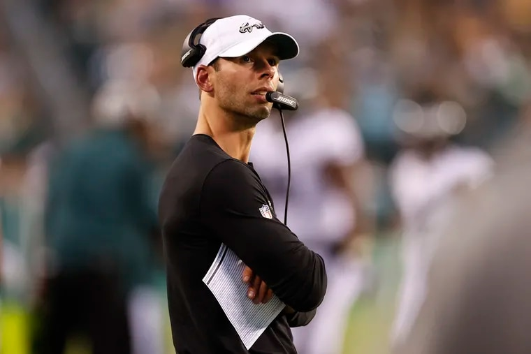 Eagles defensive coordinator Jonathan Gannon on the sideline Thursday in the game against the Pittsburgh Steelers.