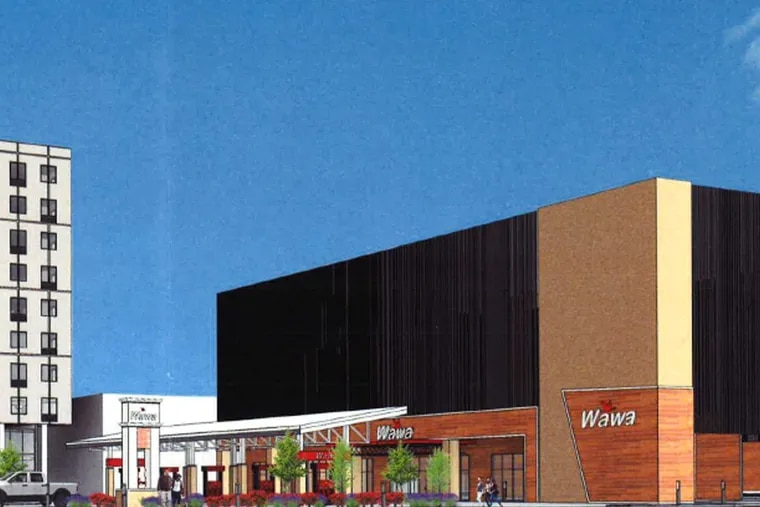 This is a preliminary rendering of the Wawa and 350-car parking garage that Michael Grasso's Metro Development wants to build on Spring Garden Street, just a block from the Delaware River.