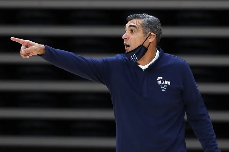 Jay Wright on the Villanova bench during the Dec. 16 game against Butler at Finneran Pavilion.