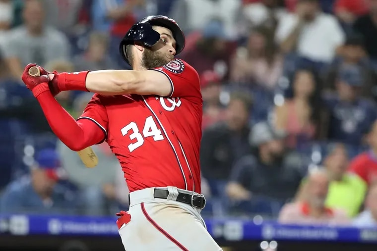 Bryce Harper of the Nationals against the Phillies at Citizens Bank Park on Sept. 11, 2018.    CHARLES FOX / Staff Photographer