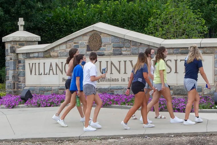 Students arrive at Villanova University in August.