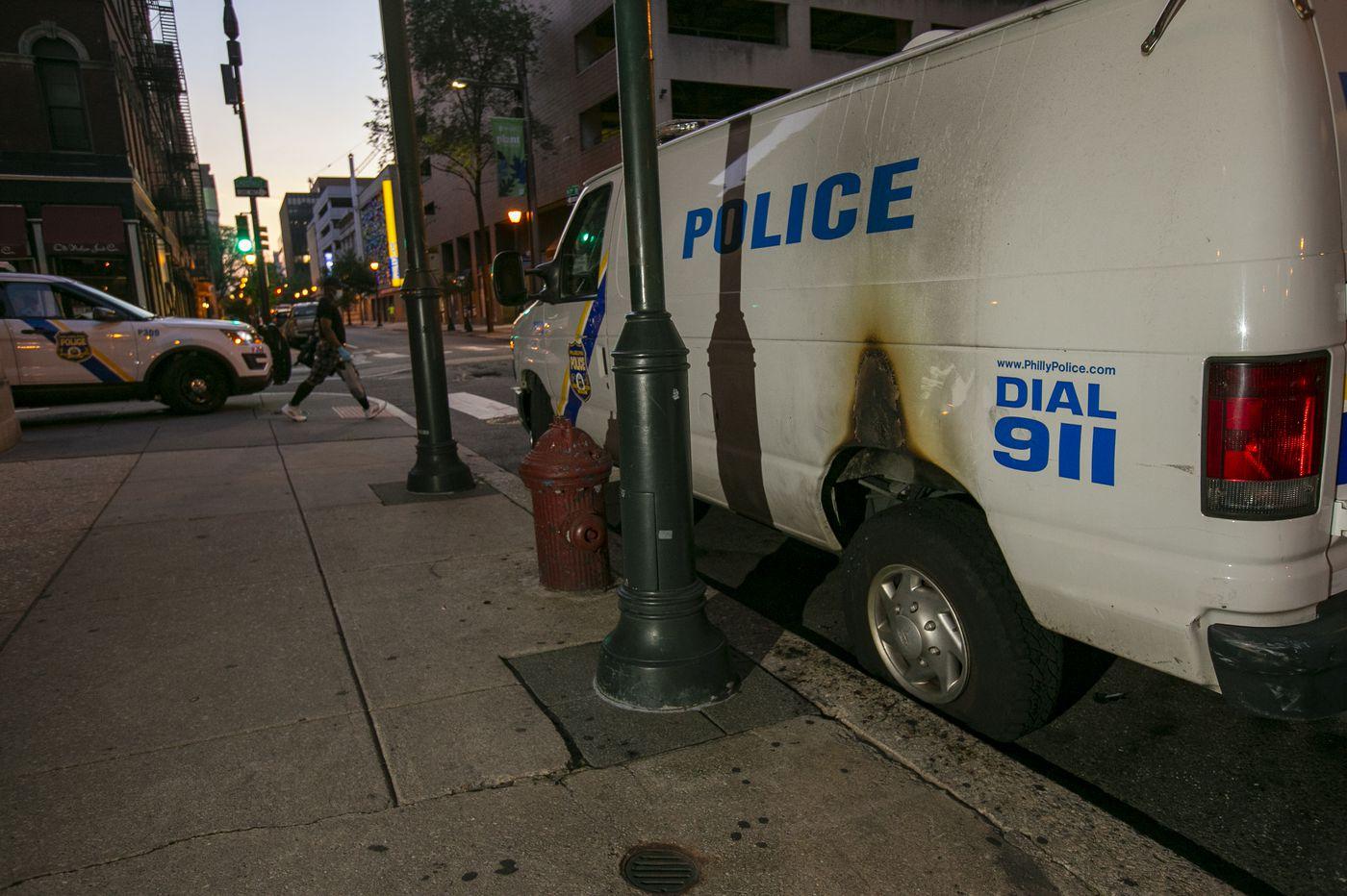 Several police cars set on fire overnight across Philadelphia