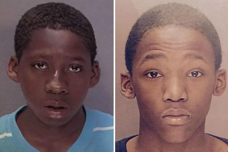 Police allege that Brandon Smith, left, and Tyfine Hamilton, right, both 15, and an unidentified 14-year-old were involved in the shooting death of Jim Stuhlman, 51, in Overbrook while he was walking his dog last week. Smith is under arrest. Police are still looking for Hamilton. (Photos from Philadelphia Police Department)