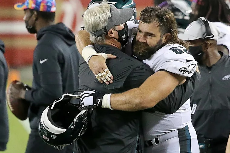 Jason Kelce, shown embracing Doug Pederson, said getting a look at young players can't get in the way of trying to win, ever.