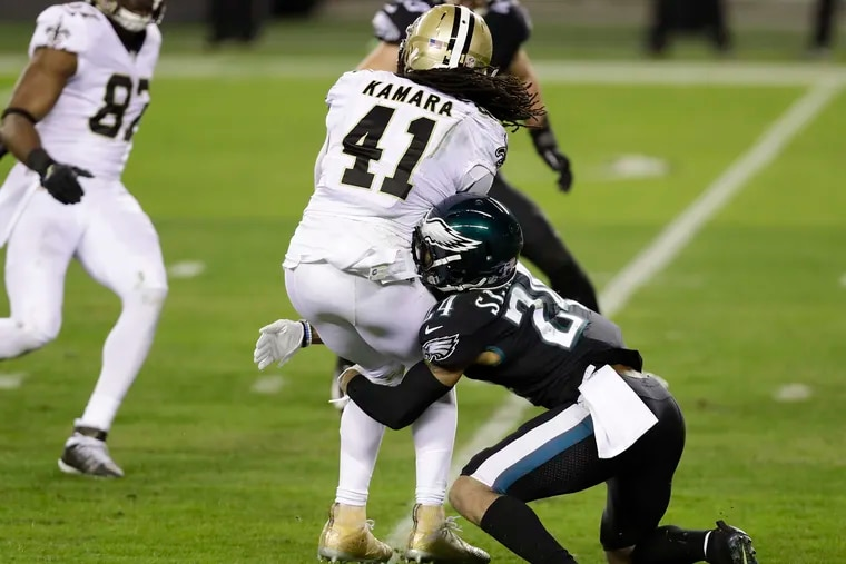 Darius Slay sustained a concussion on this play, tackling the Saints' Alvin Kamara.