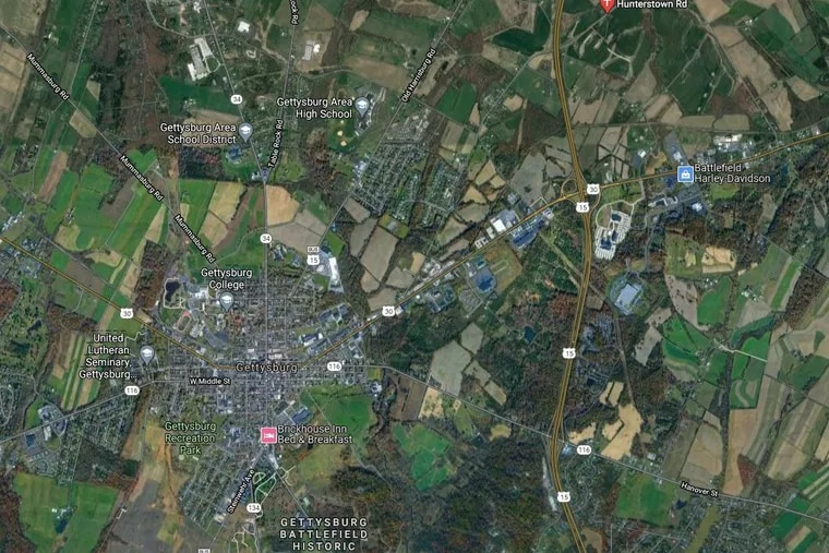 Map shows rough location in red (upper right) where solar arrays would be erected on farmland in Straban Township, Adams County, Pa., to help power buildings owned by Philadelphia.