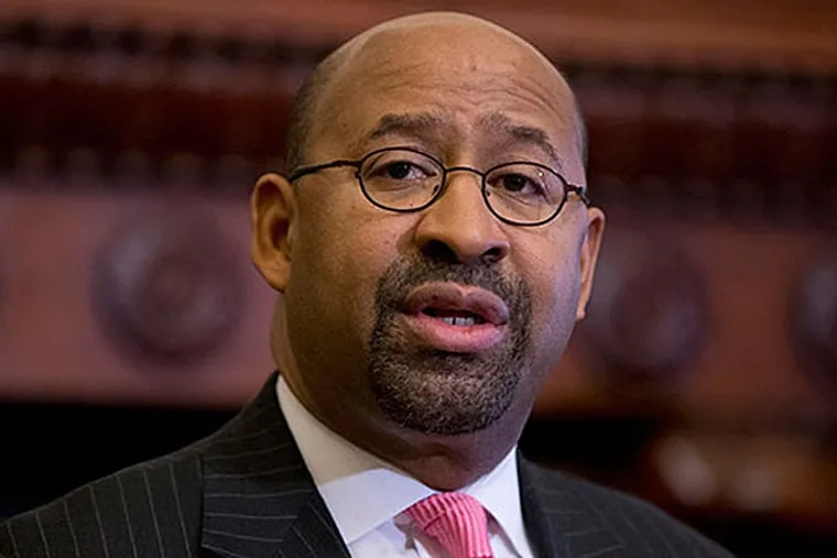 Philadelphia Mayor Michael Nutter speaks during a signing ceremony, Monday, Jan. 13, 2014, at City Hall in Philadelphia. Work was canceled for some employees today, Wednesday, April 16, 2014, because of elevator problems at a city office building.  (AP Photo/Matt Rourke/File)