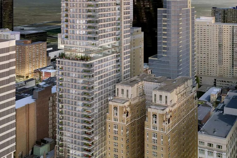 Artist's rendering of the residential tower for the 1911 Walnut project, at 47 floors, eight floors lower than the initial proposal.