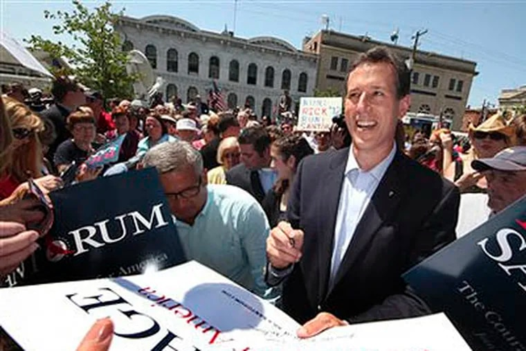 Rick Santorum works the crowd after announcing he is entering the Republican presidential race at the Somerset County Courthouse in Somerset, Pa.,  Monday, June 6, 2011.  (AP Photo / Gene J. Puskar)