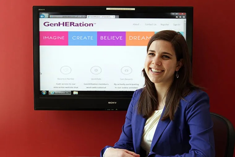 Katlyn Grasso, founder and CEO of GenHERation, a social enterprise startup, inside the Wharton Small Business Development Center on the University of Pennsylvania campus in Philadelphia on April 24, 2014. ( DAVID MAIALETTI / Staff Photographer )