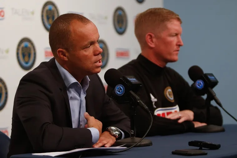 Philadelphia Union sporting director Earnie Stewart (left) is expected to leave the team to become the United States men's national soccer team's general manager.