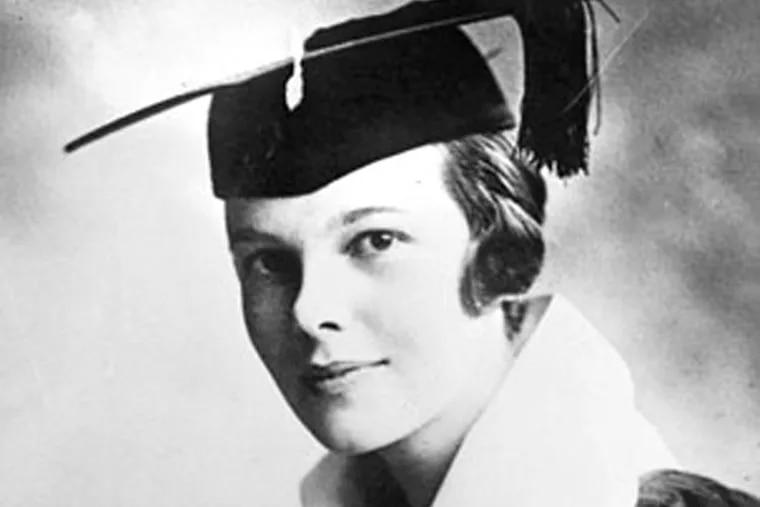Legendary pilot Amelia Earhart when she graduated from Ogontz School in Philadelphia in 1918.