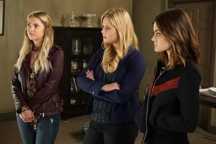 """Ashley Benson, Sasha Pieterse, and Lucy Hale in a scene from the June 20 episode of Freeform's """"Pretty Little Liars"""""""