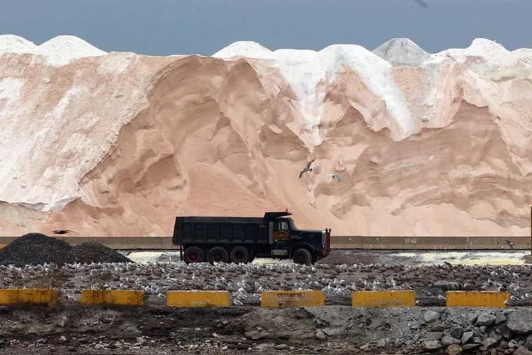 Road salt is piled high at the International Salt Co. facility at the former U.S. Steel plant in Fairless Hills. The salt works is one of dozens of companies that have used the site, along with a U.S. Steel galvanizing plant, since the company's steelmaking operations closed in the 1990s. Local officials say there's room for much more.
