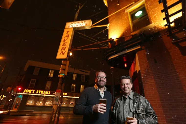 William Reed (left) and Paul Kimport, owners of Johnny Brenda's at the corner of Girard and Frankford Avenues.