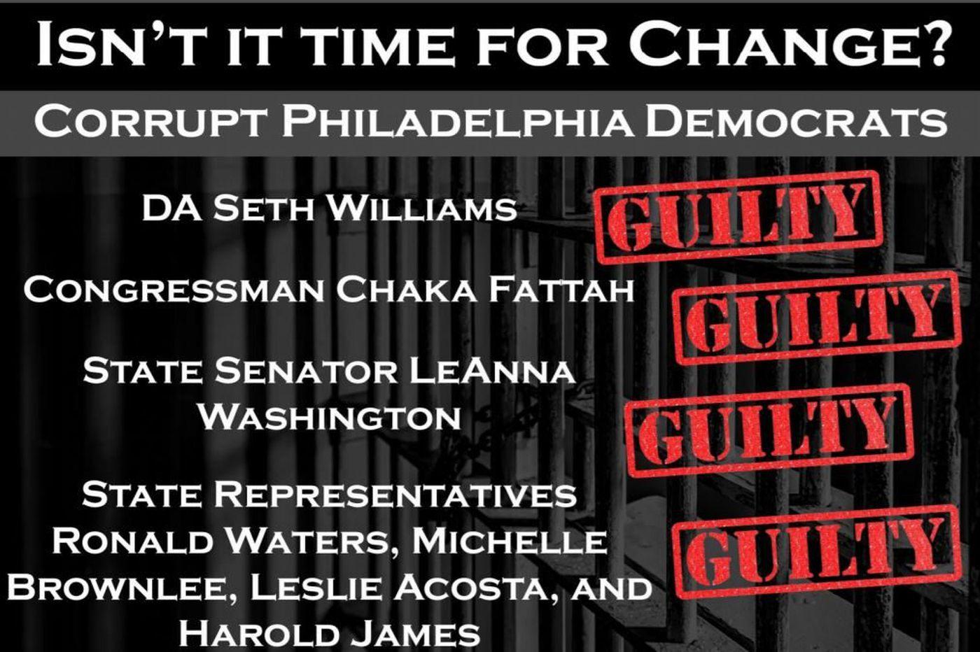 PA GOP cites `corrupt Democrats' (of color) in Philly DA race flier