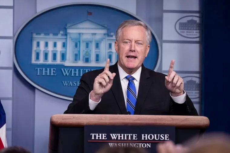 White House Chief of Staff Mark Meadows speaks during a press briefing in the James Brady Press Briefing Room at the White House on Friday.
