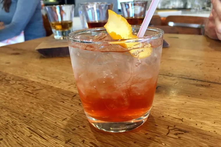 """A """"spritz"""" of the house made vermouth and soda water at Plenty Cafe, one of 50-plus aperitivi and digestivi to choose from at the Queen Village location of the local cafe group."""