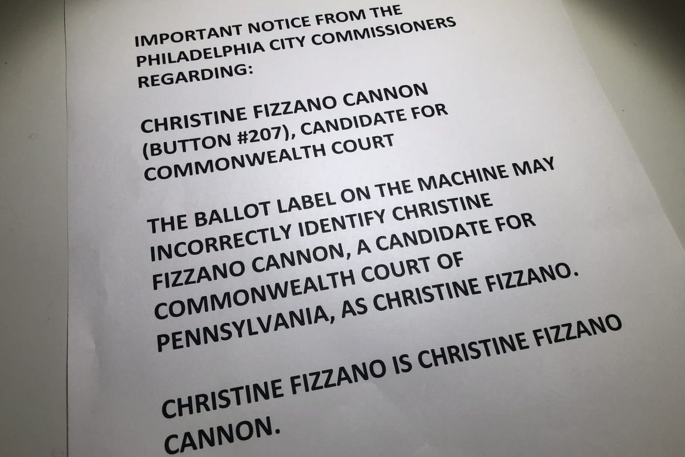 GOP judicial candidate's name wrong on Philly voting machines