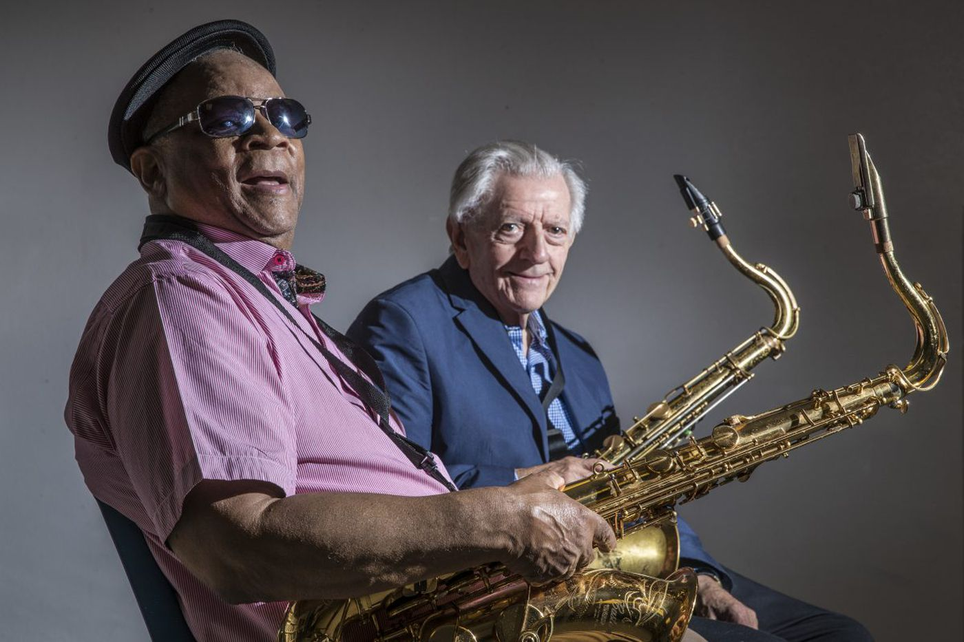 """Local legend tenormen Bootsie Barnes (left) and Larry McKenna. To celebrate their 80th birthdays they recorded the 2018 album """"The More I See You."""" Barnes died Wednesday from the coronavirus."""