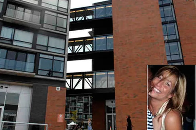 The Navona apartment building in the Piazza at Schmidts complex in Northern Liberties, site of a double murder. Rian Thal, one of the victims, is seen in this Facebook photo. (Alyssa Cwanger / Staff)