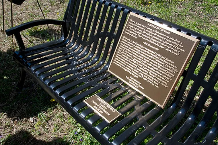 """A new bench at the Historic Eden Cemetery in Collingdale was dedicated as part of the Toni Morrison Society's """"Bench By The Road"""" initiative April 24, 2014. ( CLEM MURRAY / Staff Photographer )"""