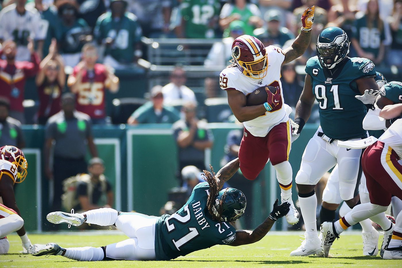 Redskins bench healthy Adrian Peterson in head-scratching decision before Week 1 loss to Eagles