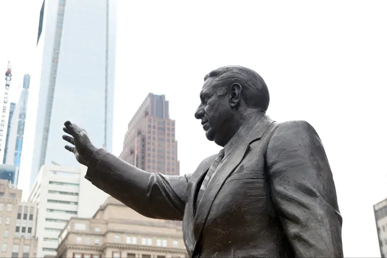 For now the Frank Rizzo statue is in place in front of the MSB Building entrance.