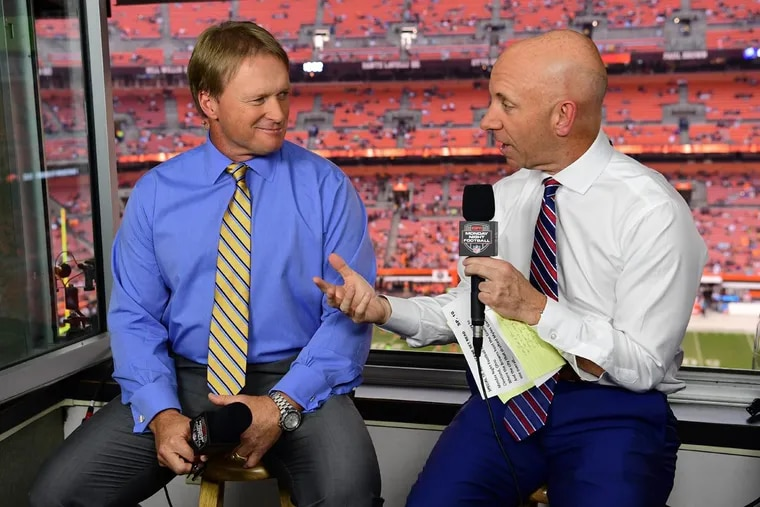 ESPN Monday Night Football analyst Jon Gruden (left) and play-by-play announcer Sean McDonough.