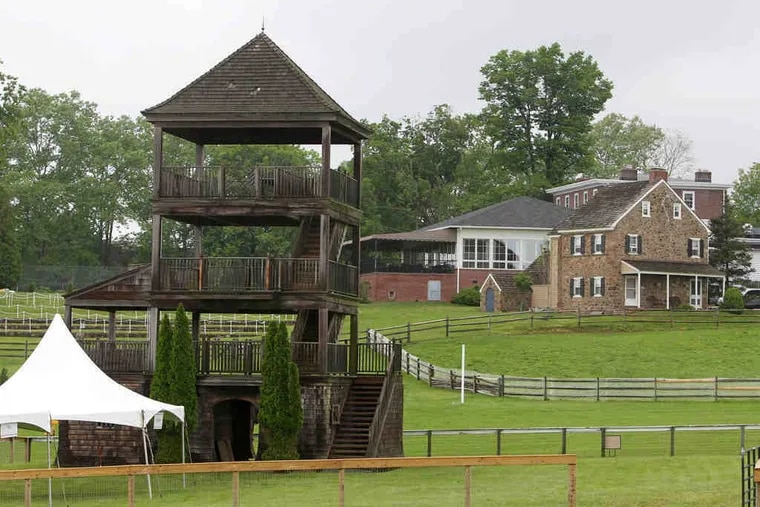 The judges' tower and clubhouse at Radnor. The first races were run in 1930 at Chesterbrook Farm, but soon moved here.