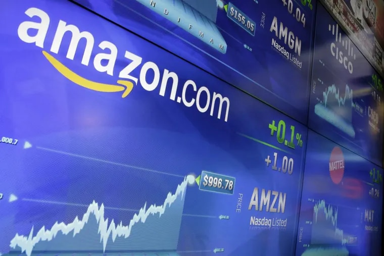 The Amazon logo is displayed at the Nasdaq MarketSite in New York's Times Square on May 30, when the company's shares traded above $1,000 a share for the first time.