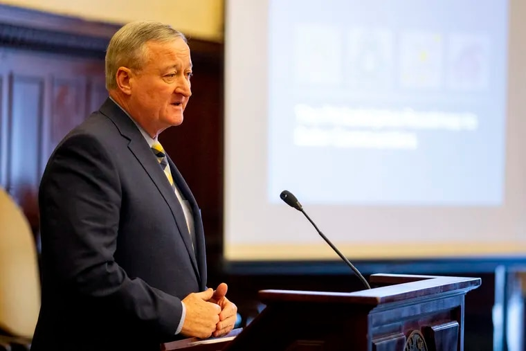 Mayor Jim Kenney at his news conference presenting a violence-reduction plan at City Hall, Philadelphia, Thursday, Jan. 17, 2019.