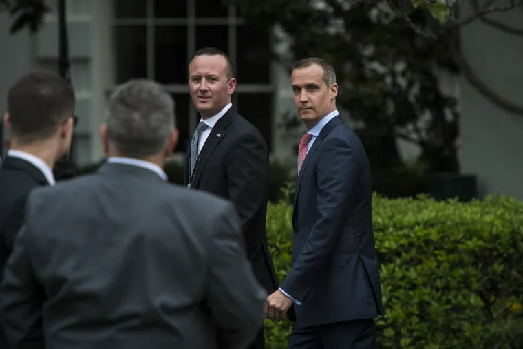Corey Lewandowski, right, and another former member of Donald Trump's staff are largely admiring of the president in a campaign memoir, even as they chronicle their boss' voracious appetite for fast food and his explosive temper.