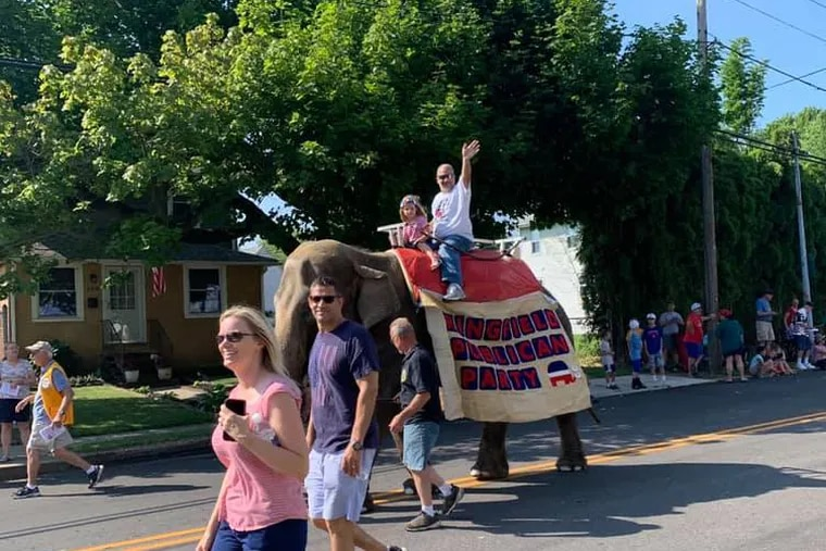 Minnie, the elephant, walks in the Springfield July 4 parade.