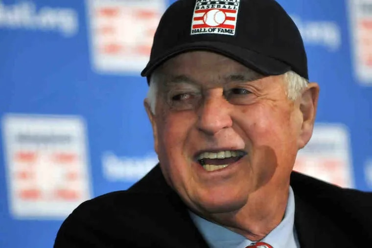 """Pat Gillick, all smiles during a news conference, credited his many coworkers over the years for his election to the Hall of Fame. """"You can't do this job alone . . . all in all, it couldn't have been done without them."""""""
