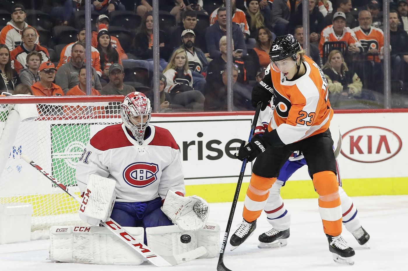 Oskar Lindblom is with the Flyers in Toronto and close to returning to practices
