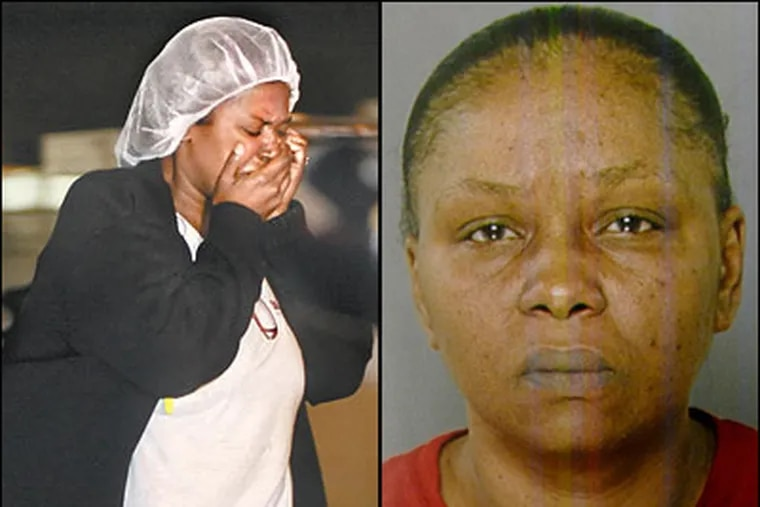 An employee (left) at Kraft Foods in Northeast Philadelphia leaves the baking plant after the suspect, whom coworkers identified as Yvonne Hiller (right), was captured. (File Photos)
