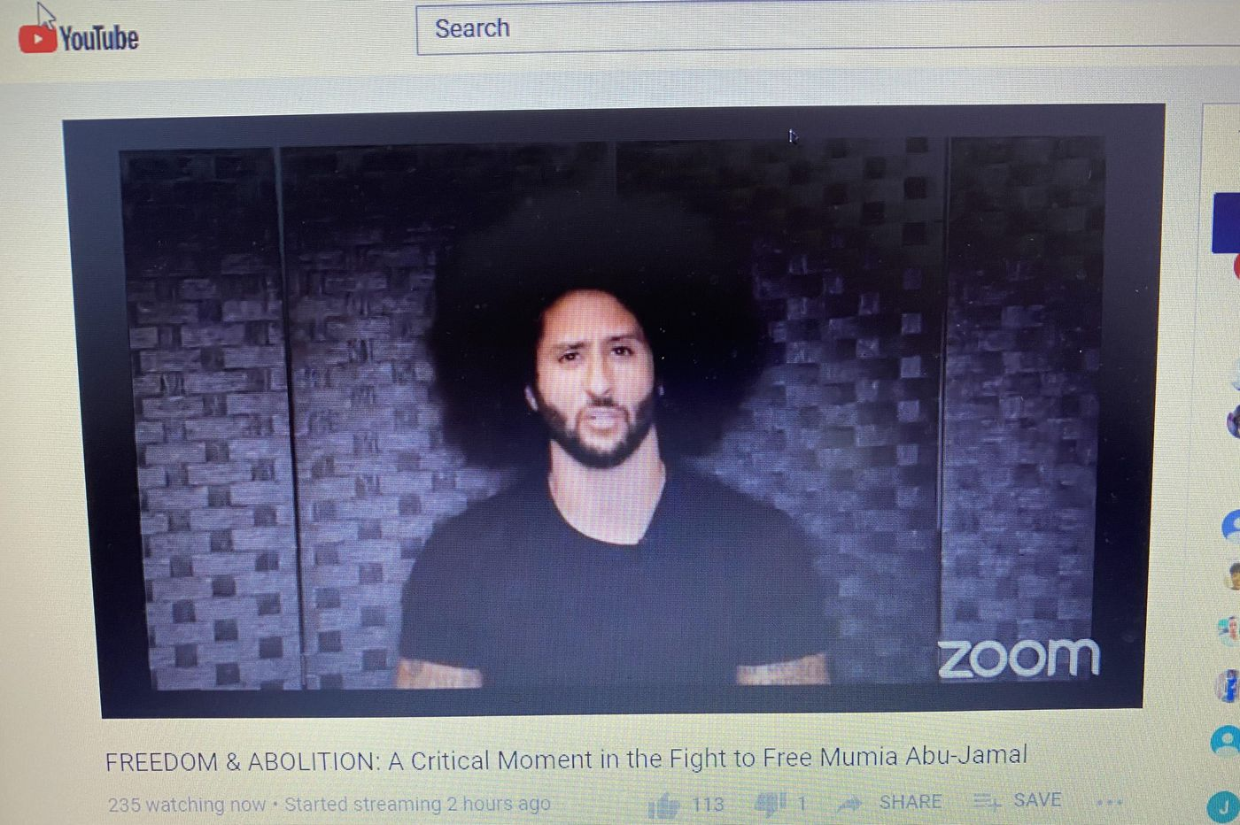 Colin Kaepernick calls on law enforcement authorities to 'Free Mumia'