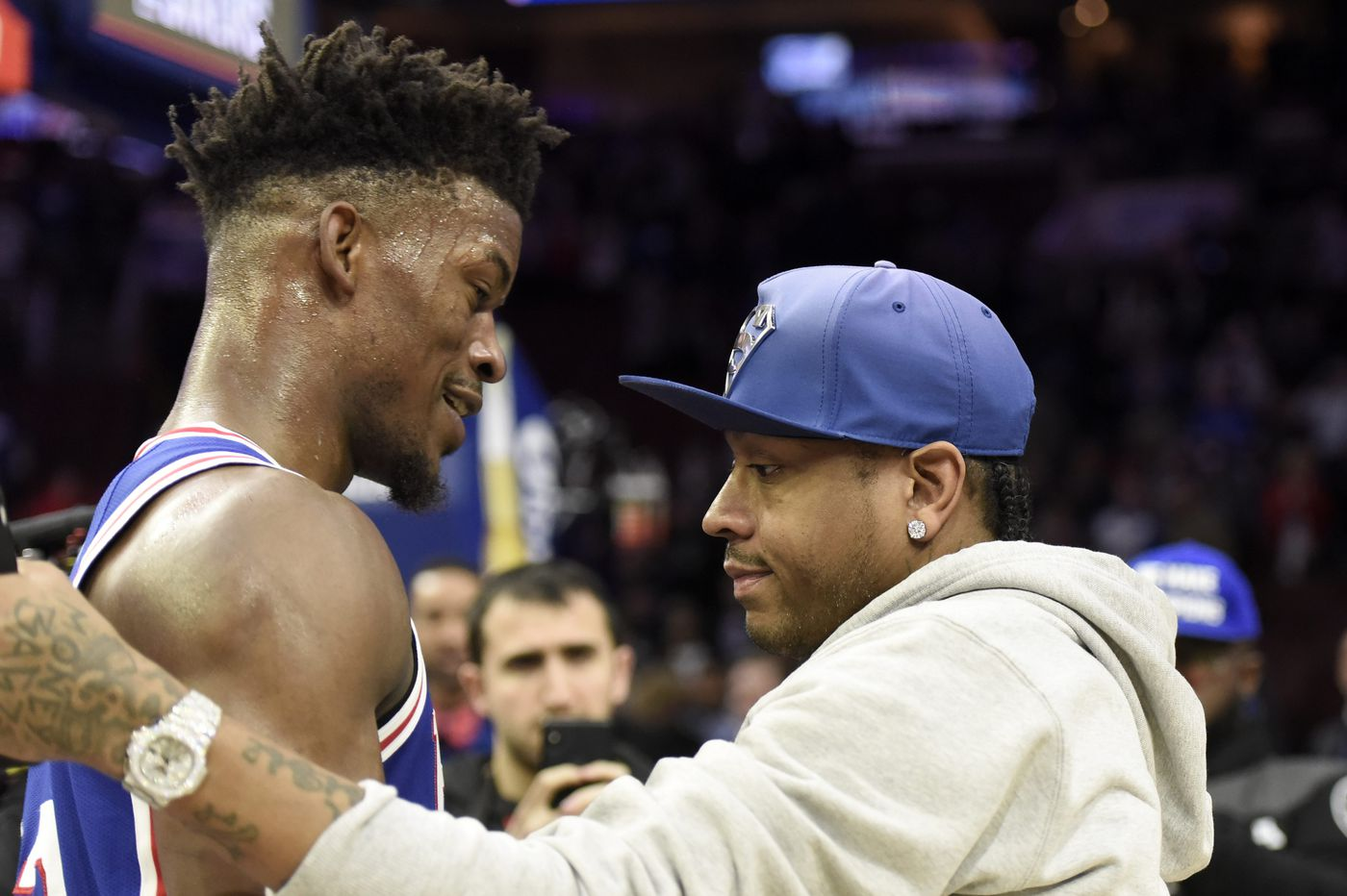 pretty nice 0709c feac0 New Sixer Jimmy Butler and Allen Iverson share a long hug