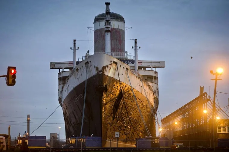 The SS United States has been docked at Pier 82 on South Columbus Boulevard, across the street from an Ikea store, since 1996.
