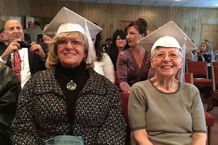 Rosina Squilla (left) and sister Rickie Descano were honored with a graduation ceremony at Hallahan Catholic Girls' High School more than 50 years after they were forced to drop out to help their family. FAMILY PHOTO