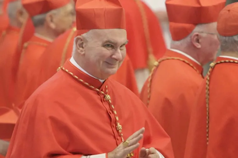 Cardinal John P. Foley waves to friends in Rome after his elevation by Pope Benedict XVI in '07. (Laurence Kesterson / Staff Photographer)