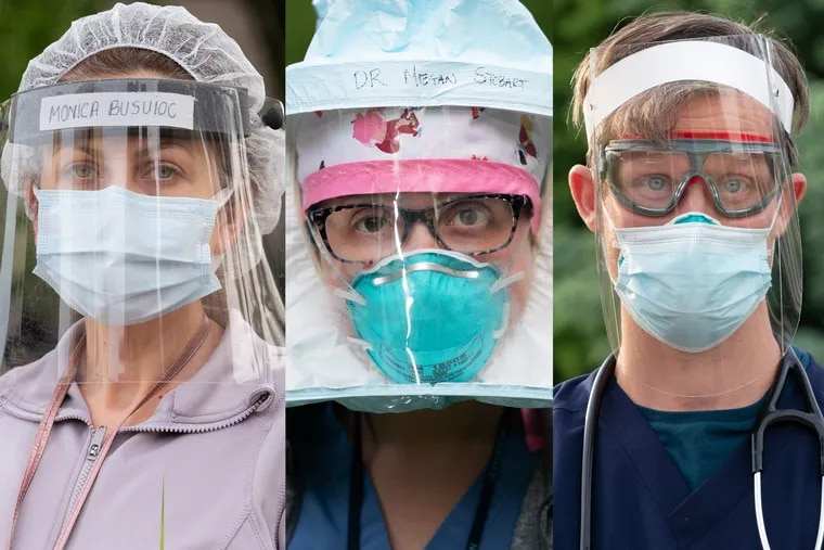 Left to right: Monica Busuioc, a doctor on the COVID floor at Temple University Hospital; Megan Stobart-Gallagher, an emergency department doctor at Thomas Jefferson University Hospital; and William Pace, an infectious disease doctor.