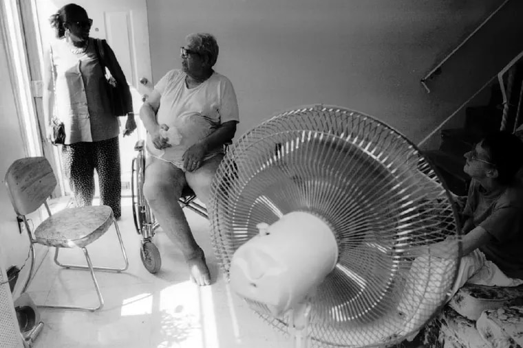 During the killer heat wave of 1993, a case manager with the Philadelphia Corporation for Aging installed a fan in the home of Leonard and Anna Thompson. The organization generally does not give out fans, as they can make conditions worse if not installed correctly, but sometimes sets up fans that others have donated.