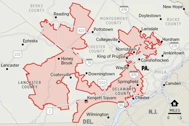 Pennsylvania's Seventh Congressional District has been cited as an example of extreme partisan gerrymandering.