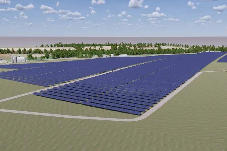 An artist's rendering of one of the Franklin County solar farms that will supply Penn State University with renewable energy when they come on line this year. Four other Pennsylvania schools — Lehigh University, Lafayette College, Muhlenberg College and Dickinson College — announced Monday they have teamed up to buy their power from a Texas solar project.