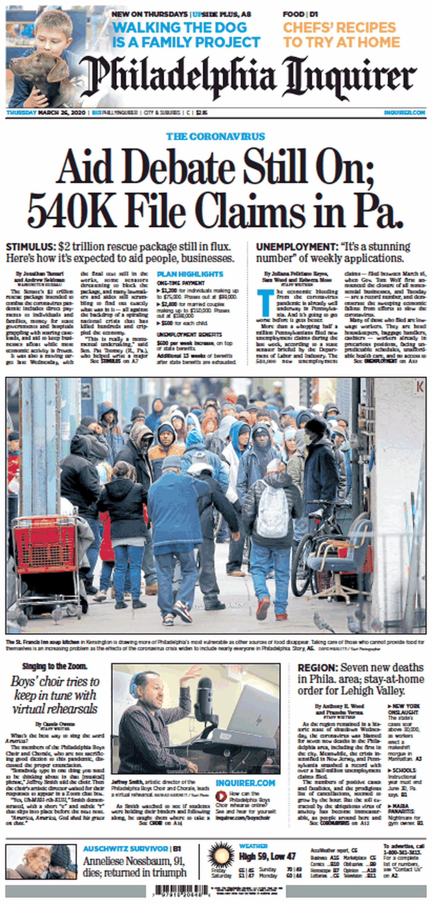 The Philadelphia Inquirer's front page for Thursday, March 26, 2020.